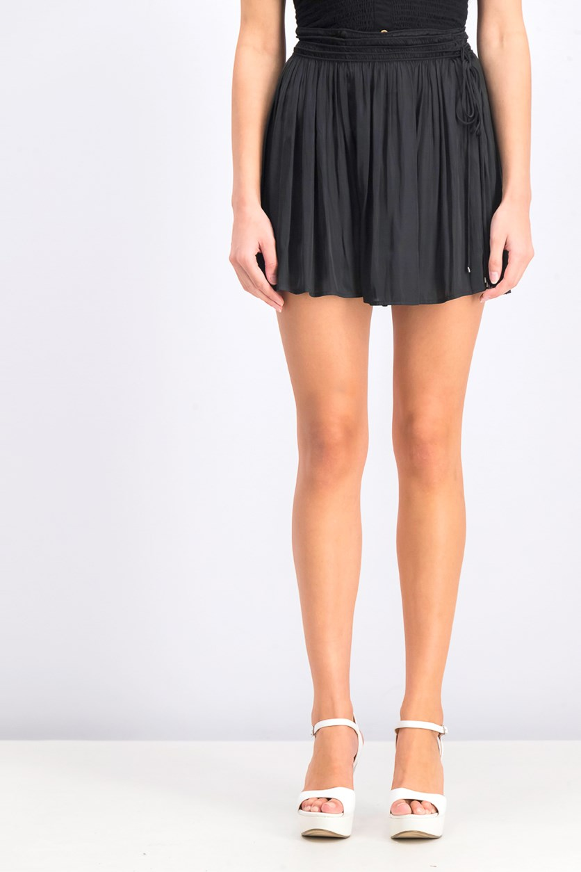 Women's Ruched Tie-Waist Short, Black