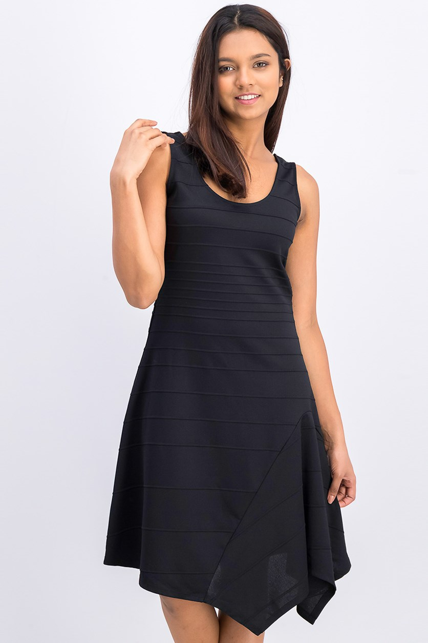 Womens Asymmetrical Knee-Length Dress, Black