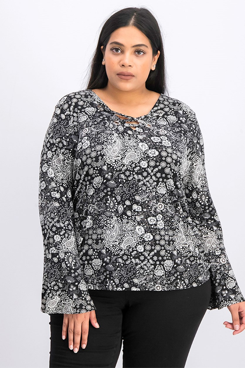 Women's Plus Size Paisley Bell Sleeve Top, Black