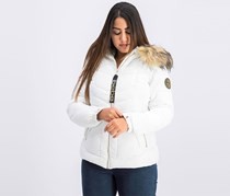 Women's Faux Fur Hoodie Quilted Jacket, White
