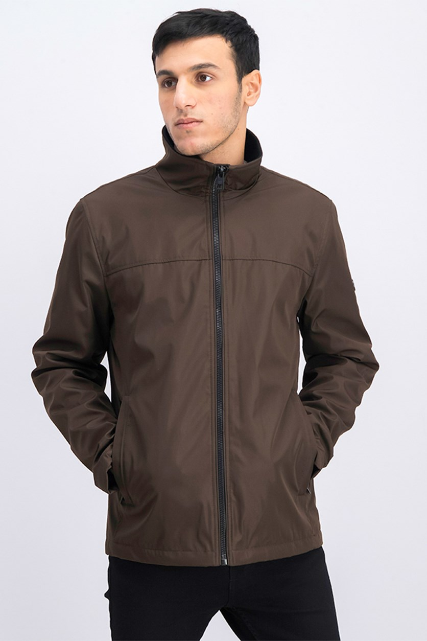 Men's Mock Neck Jacket, Brown