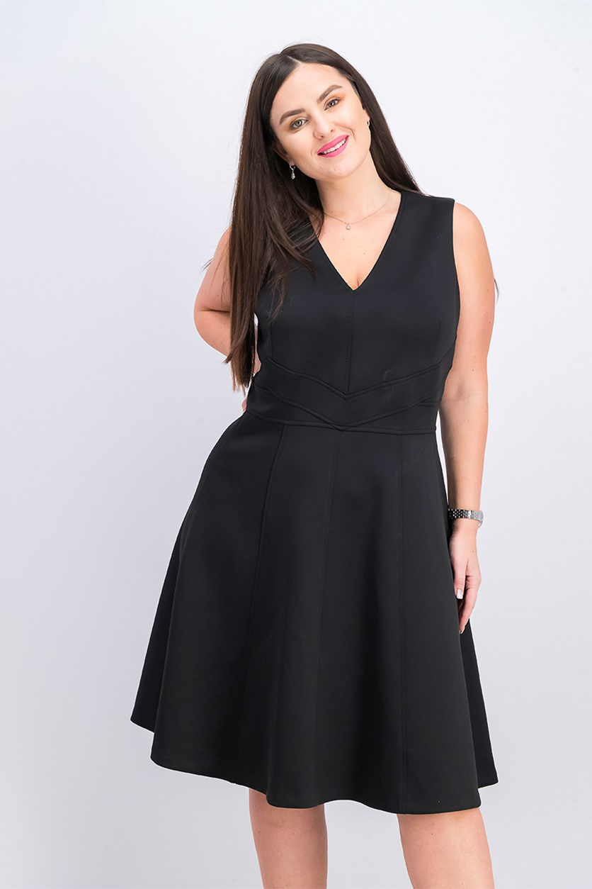 Women's Plus Size Sleeveless Scuba Dress, Black