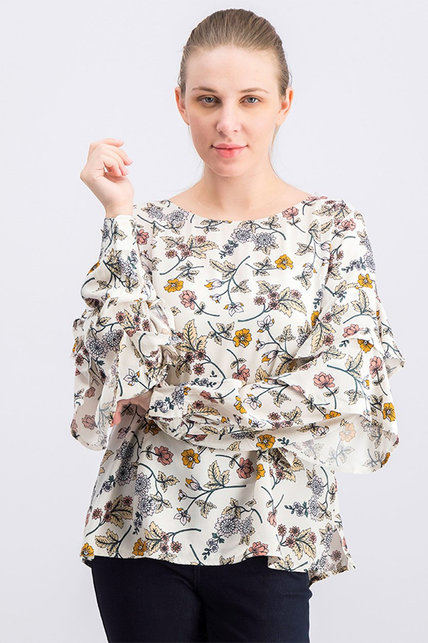 Womens Tilly Floral Print Blouse, Off White Combo