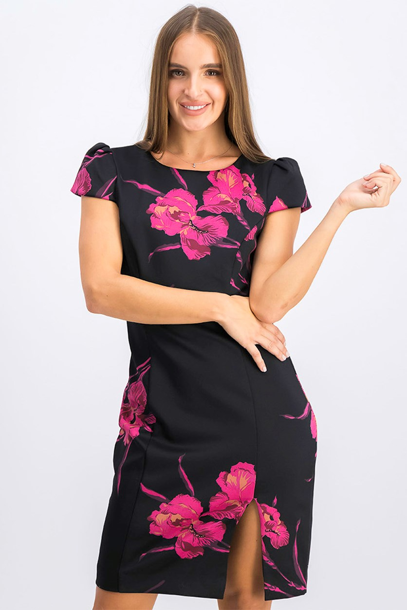Women's Floral-Print Sheath Dress, Black Combo