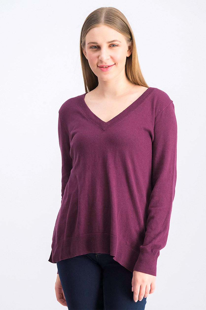 Women's V-Neck Sweater, Plum