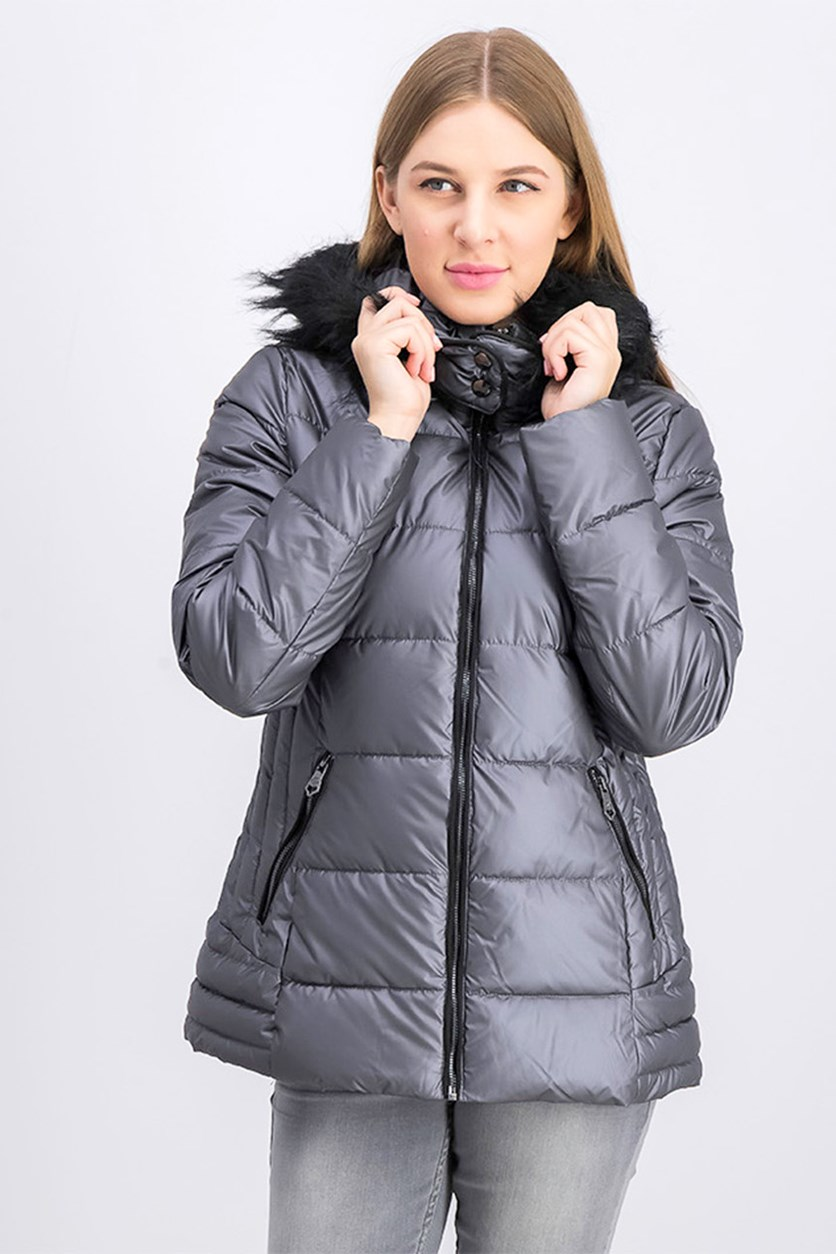 Women's Quilted Fur Trim Hooded Iridescent Puffer Jacket, Titanium