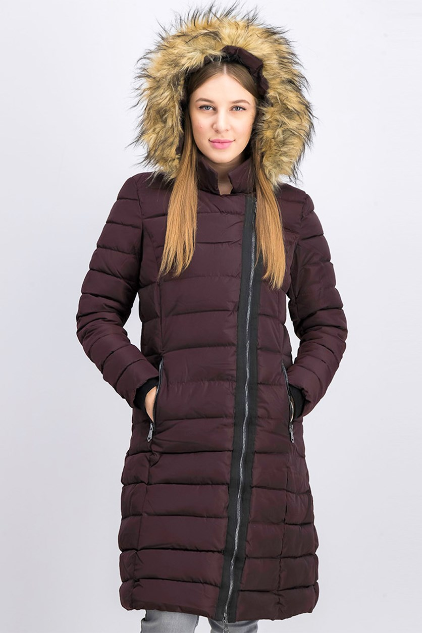 Women's Quilted Fur Hood Asymmetrical Zip Long Puffer Coat, Purple
