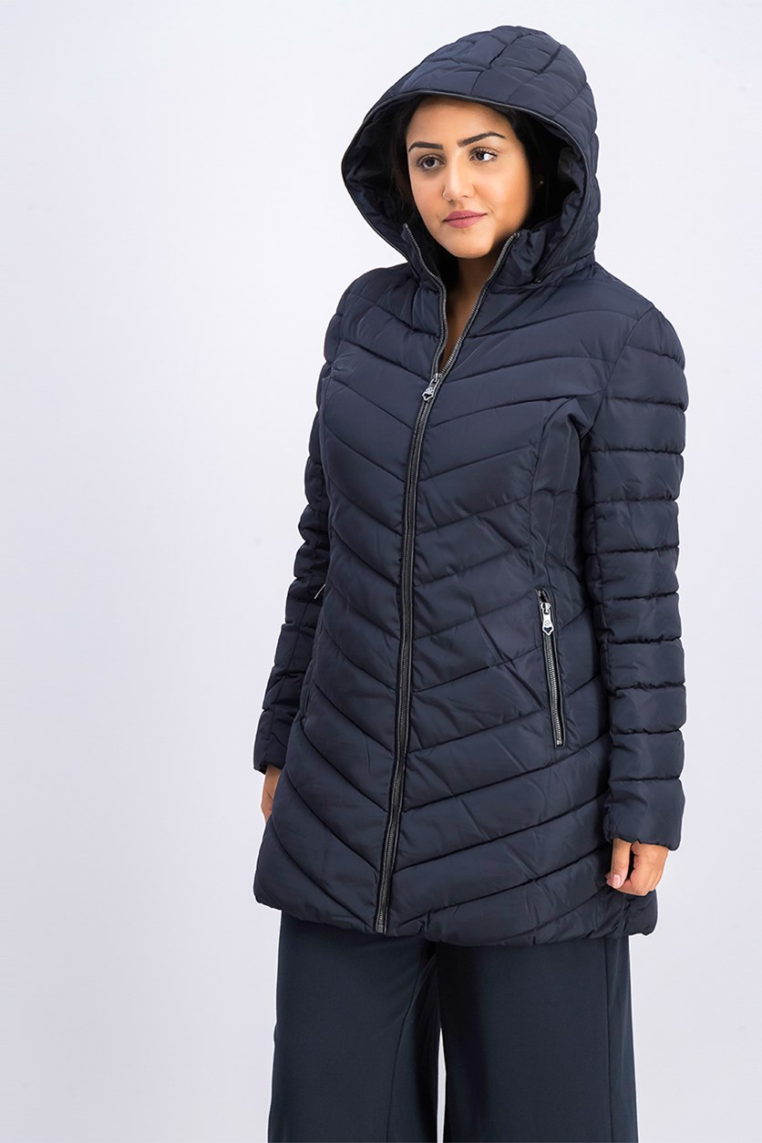Women's Quilted Hooded Puffer Jacket, Navy
