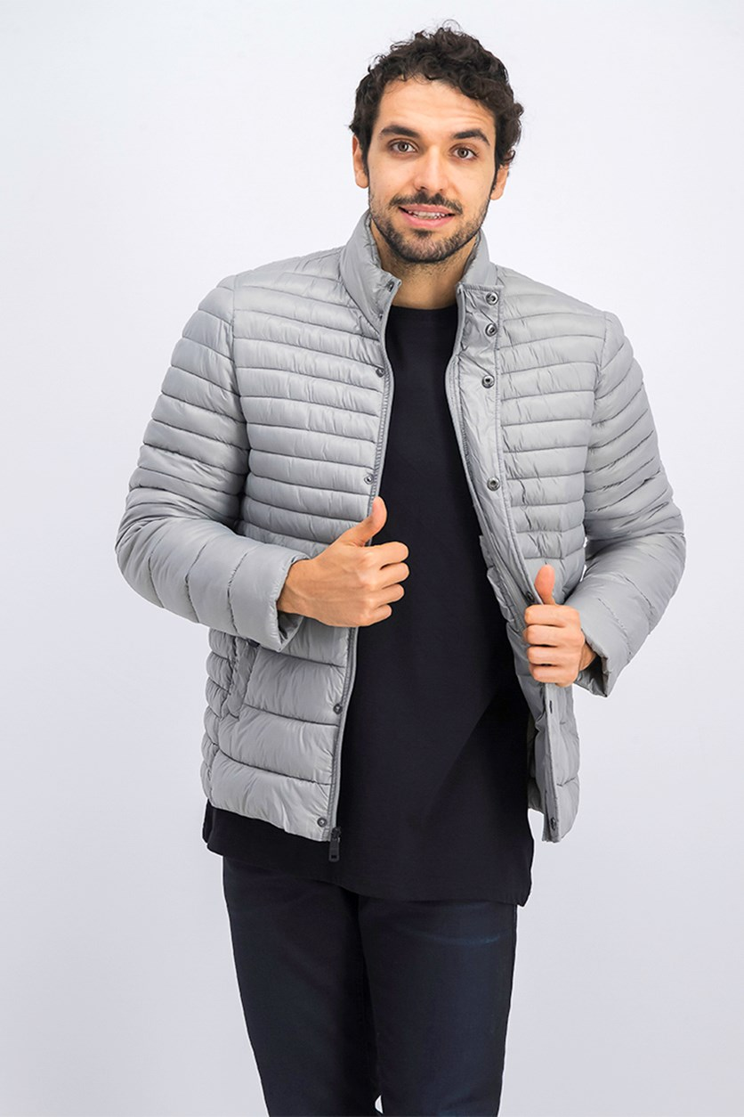 Men's Packable Quilted Jacket, Silver