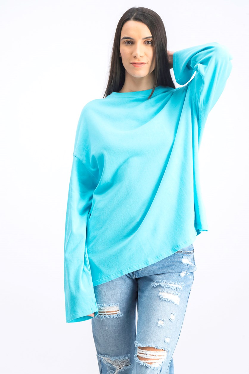 Women's Plain Oversize Tops, Sky Blue