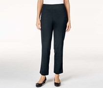 Alfred Dunner Women's Petite Classics Straight-Leg Pull-On Ponte Pants, Navy