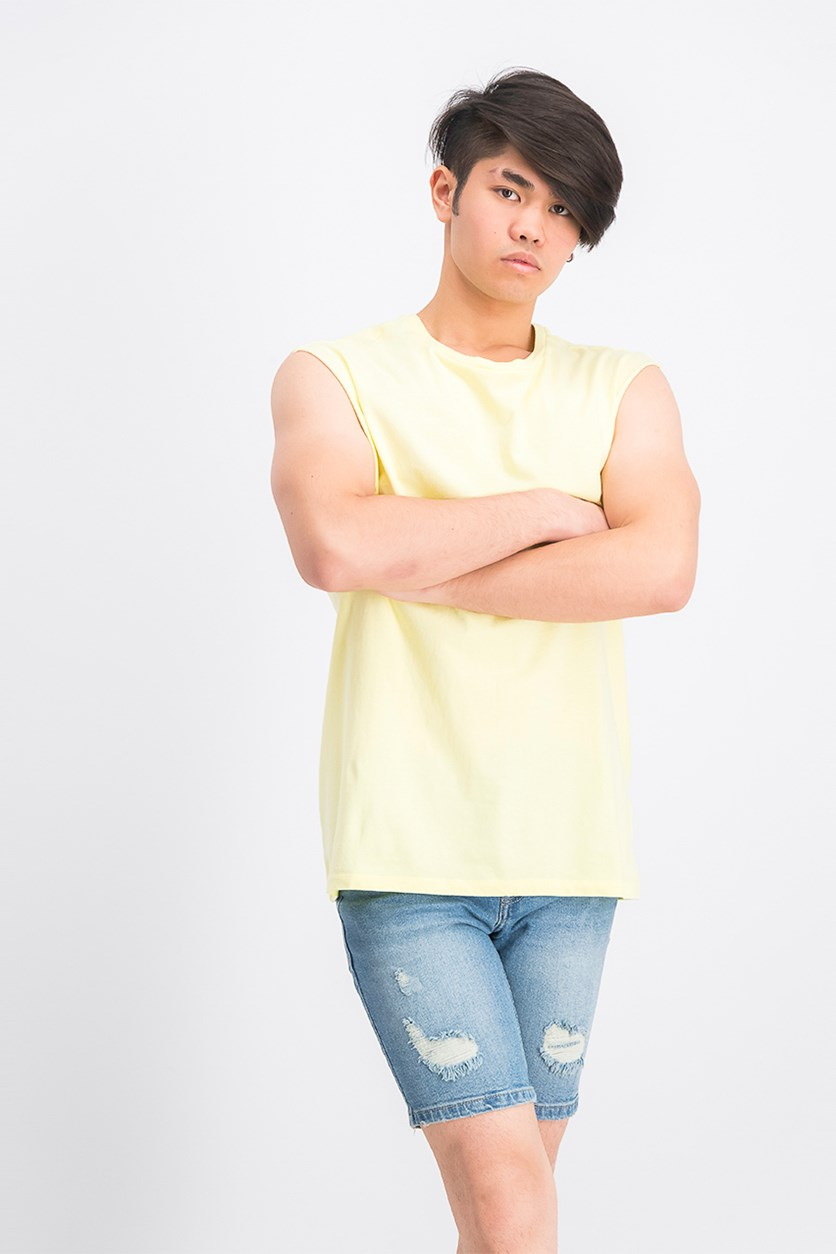 Men's Sleeveless Fit Tank Top, Light Yellow