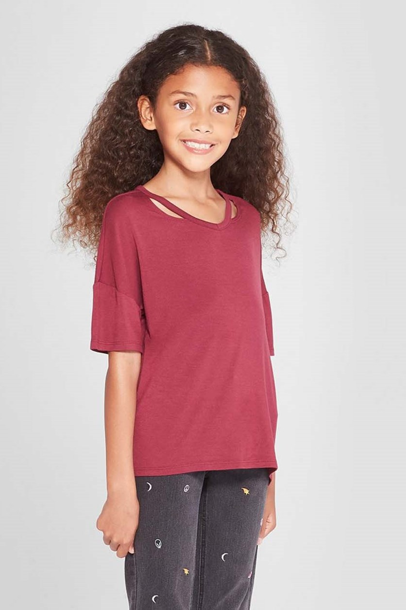 Girl's Cold Clavicle Short Sleeve Top, Math Maroon