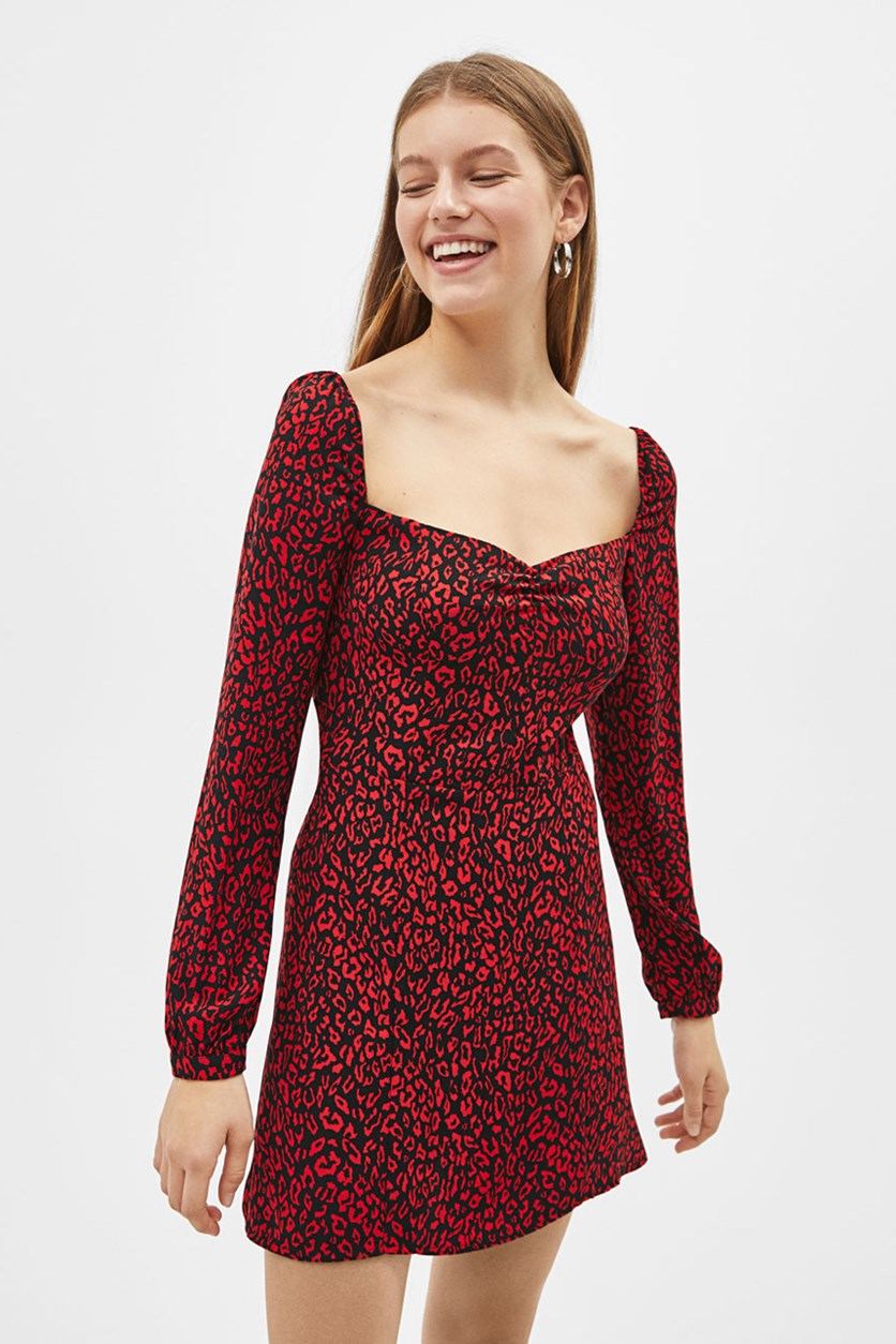 Women's Leopard Print Mini Dress, Black/Red