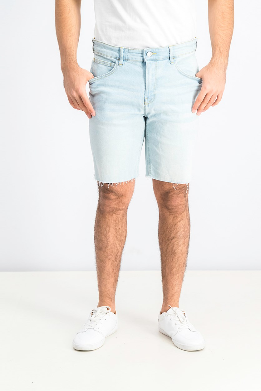 Mens Slim Fit Denim Short, Blue Washed