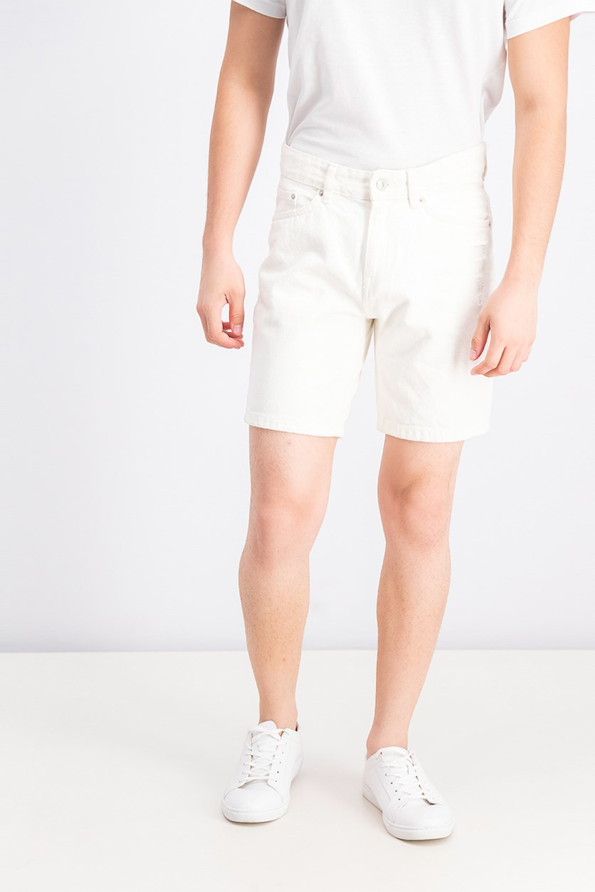 Slim Fit Ripped Denim Bermuda Shorts, Off White