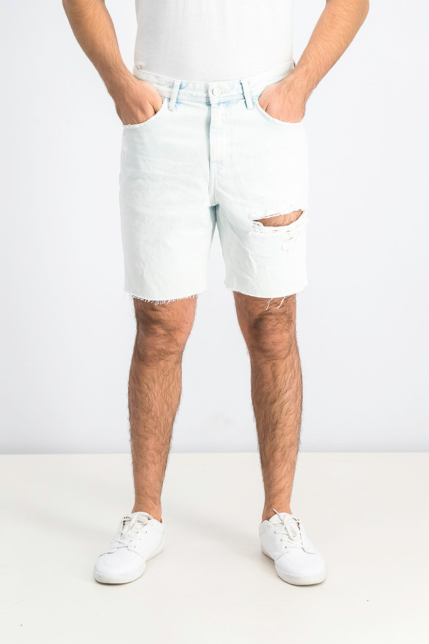Mens Slim Fit Denim Short, Bleached