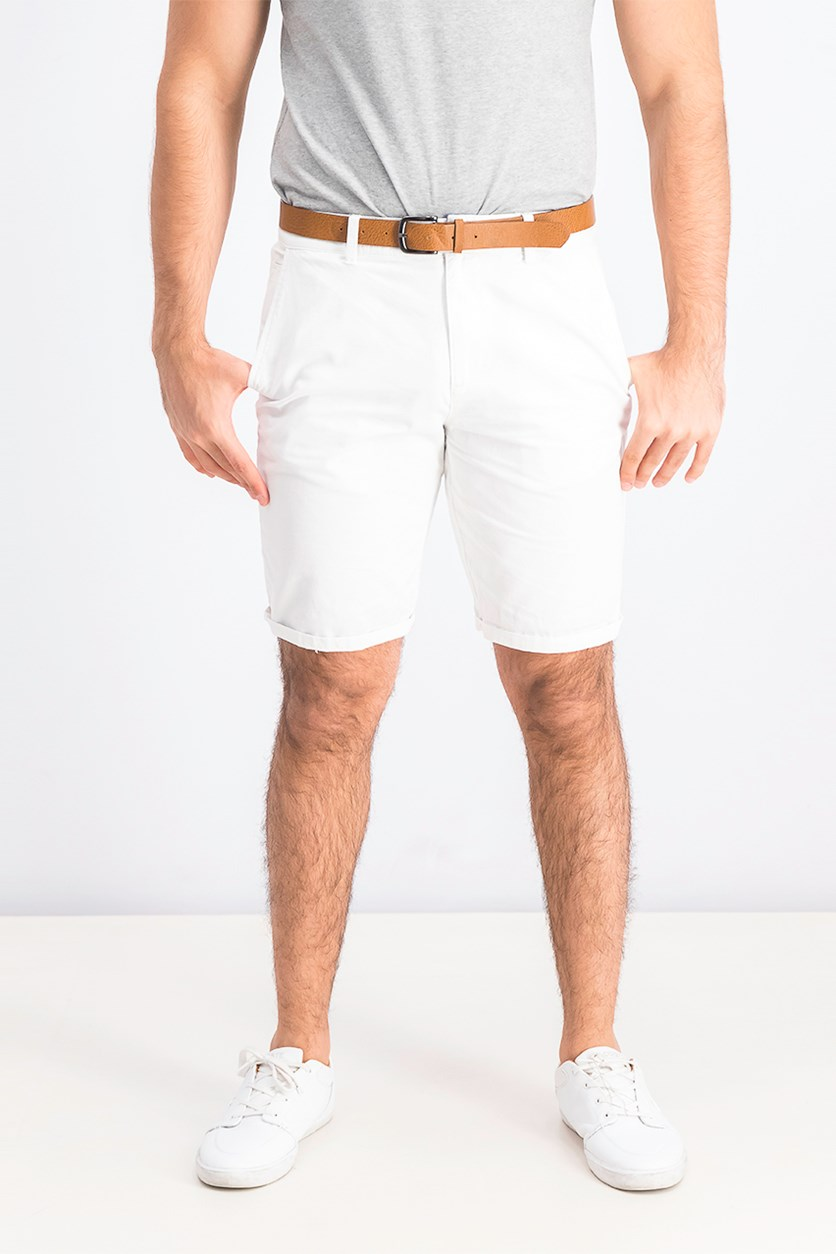 Men's Belted Straight Fit Short, White