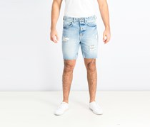 Men's Slim Fit Ripped Short, Light Denim