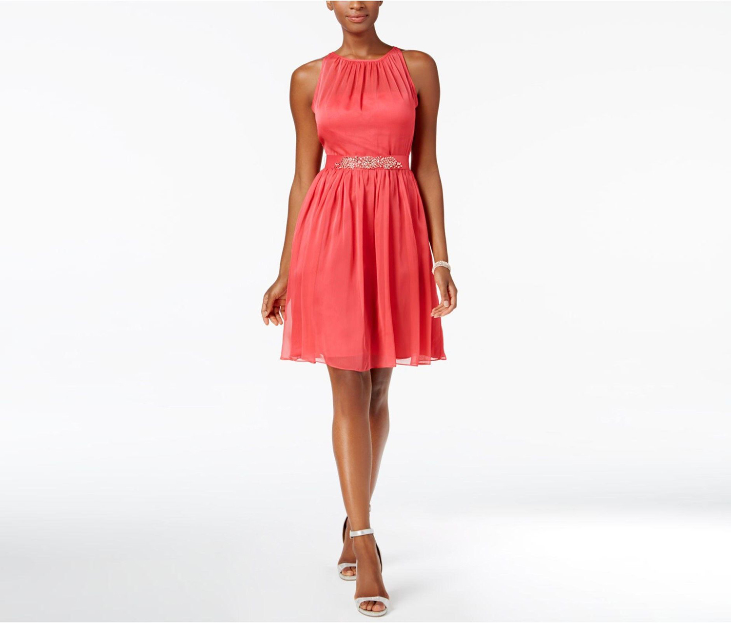 Adrianna Papell Women's Belted Chiffon Halter Dress French, Coral