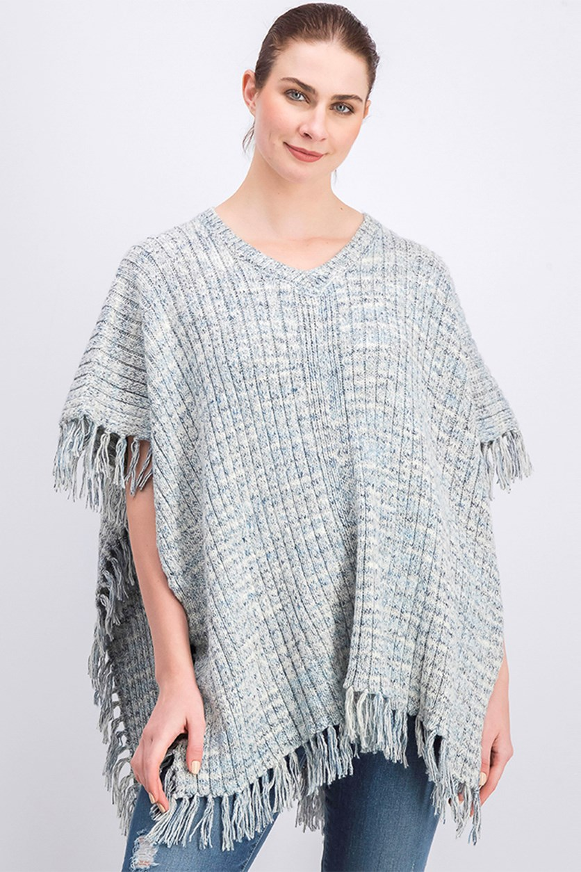 Women's Textured Rib Fringe-Trim Pullover Poncho, Gray Combo