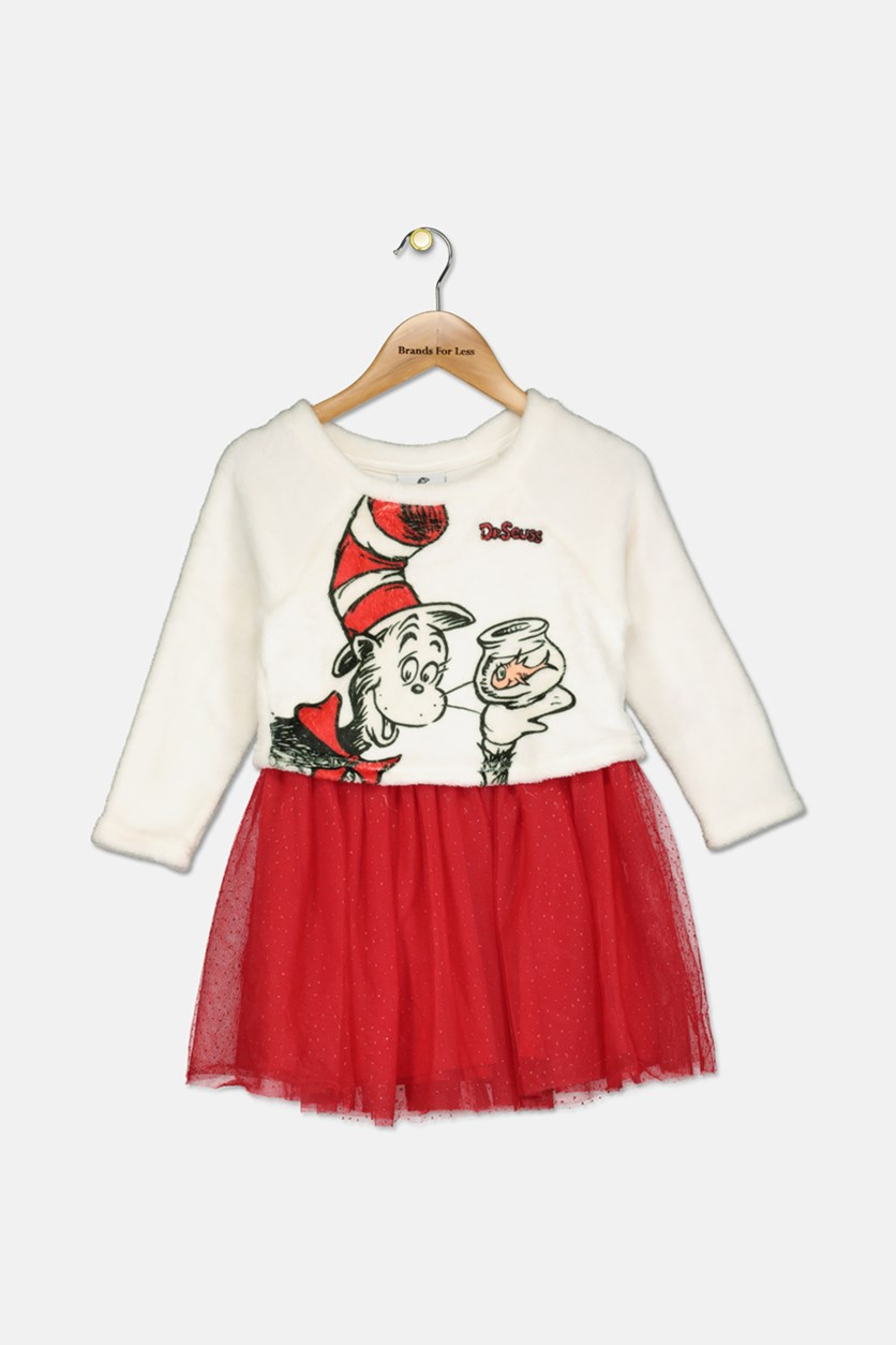 Toddlers Girls Graphic Print Layered-Look Dress, Red/Ivory