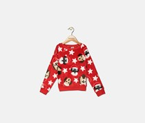 Toddler Girls Dog-Print Faux-Fur Sweater, Red