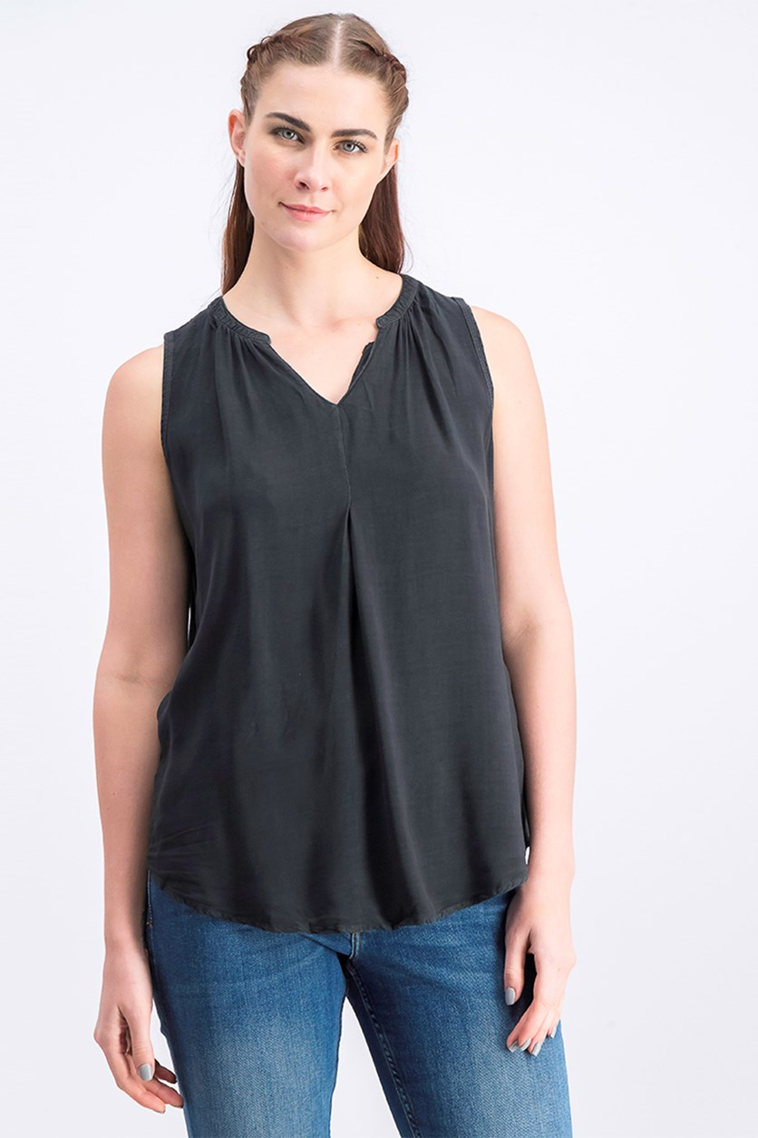 Women's Split Neck Tank, Hematite