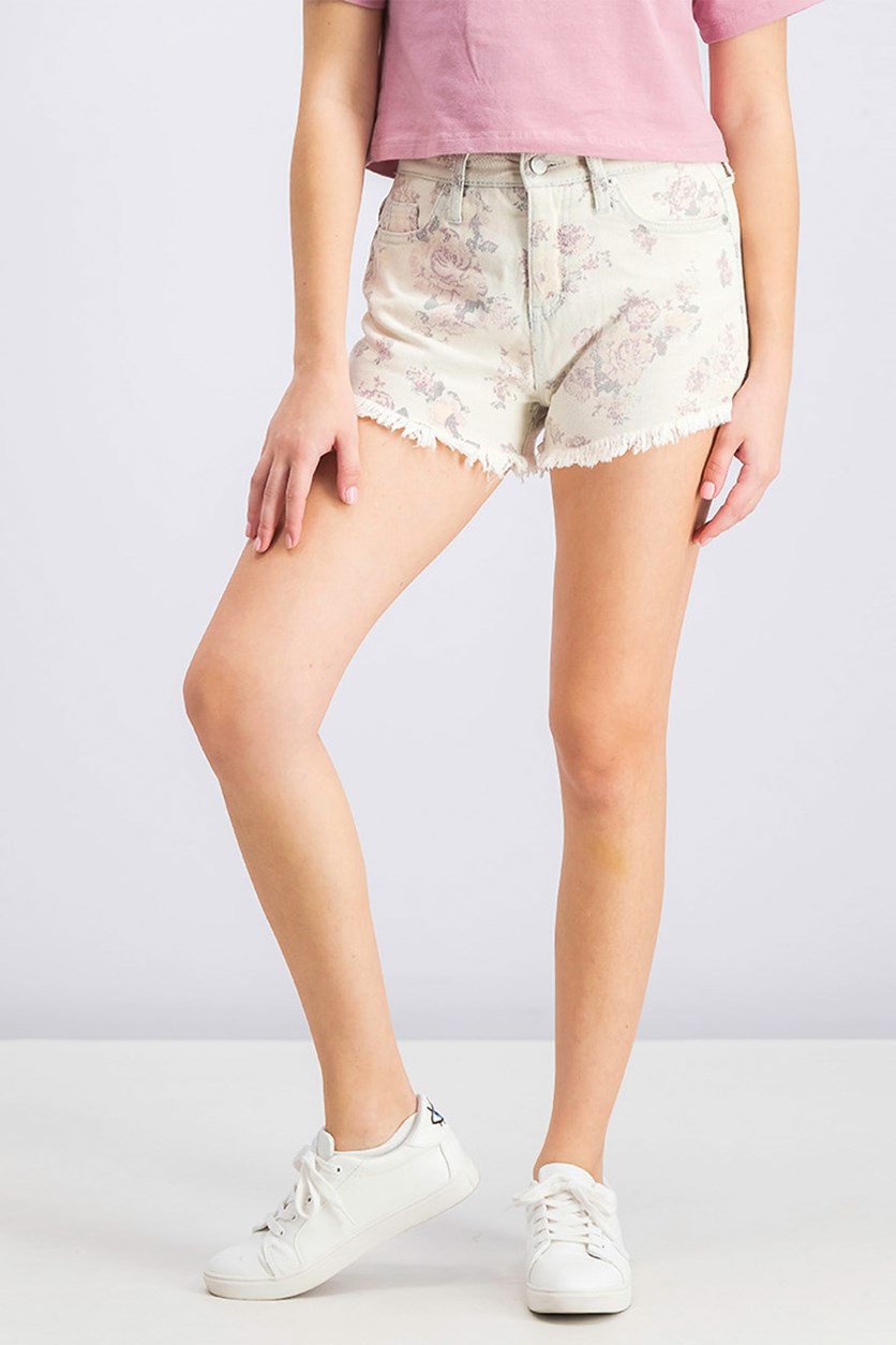 Women's Floral Print Frayed Hem Short, Rosey Wash