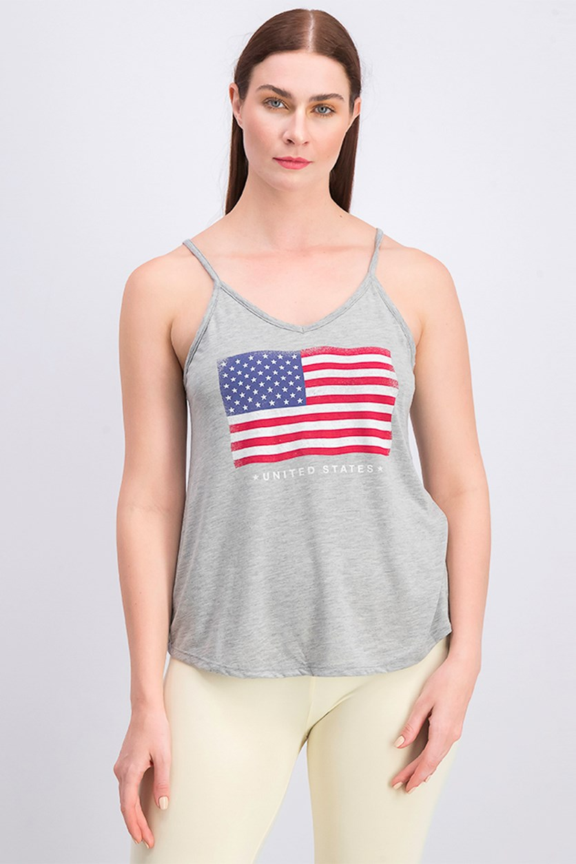 Women's Graphic Print Tank Top, Gray Heather