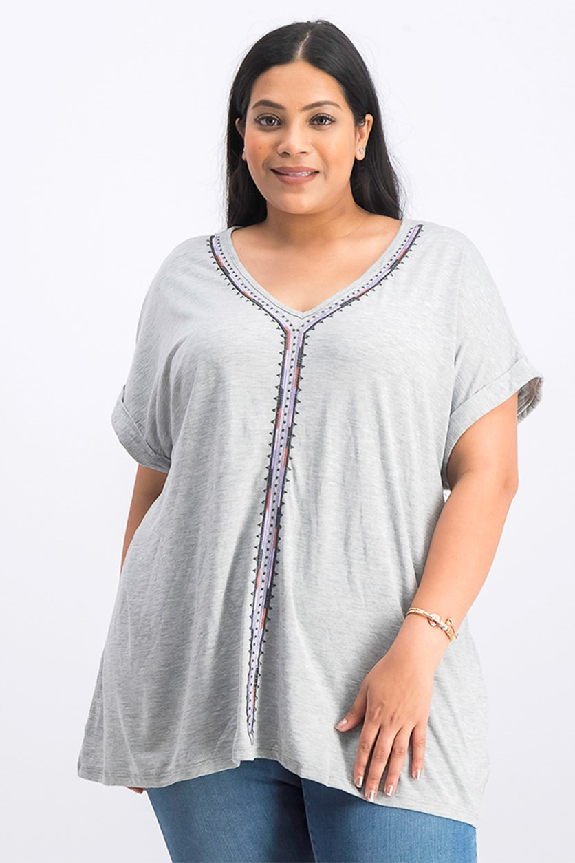 Plus Size Embroidered Short Sleeve Knit Top, Gray