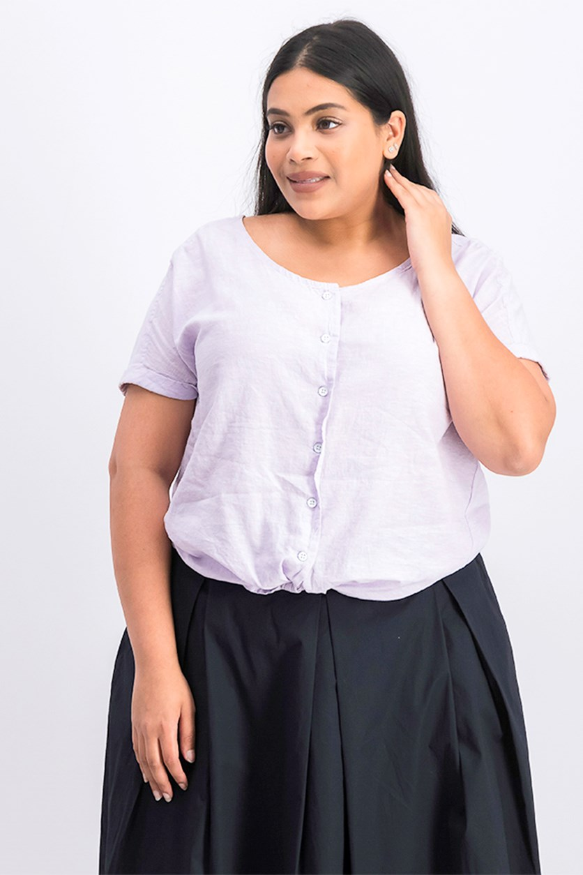 Women's Plus Size Tie Front Woven Short Sleeve Top, Shy Lavender