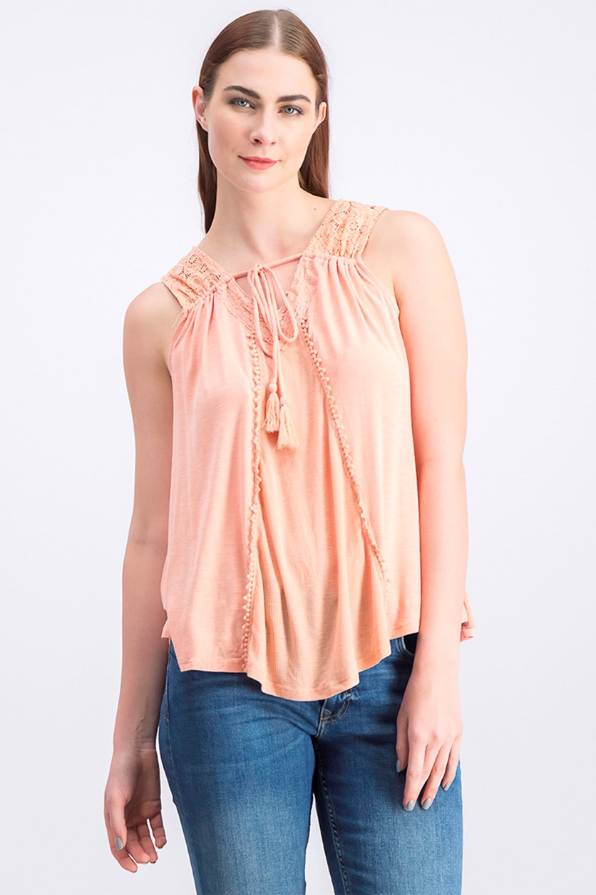 Women's Open Lace Wash Tank, Dark Peach