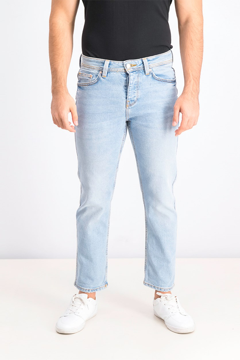 Men's Denim Straight Fit Jeans, Washed blue