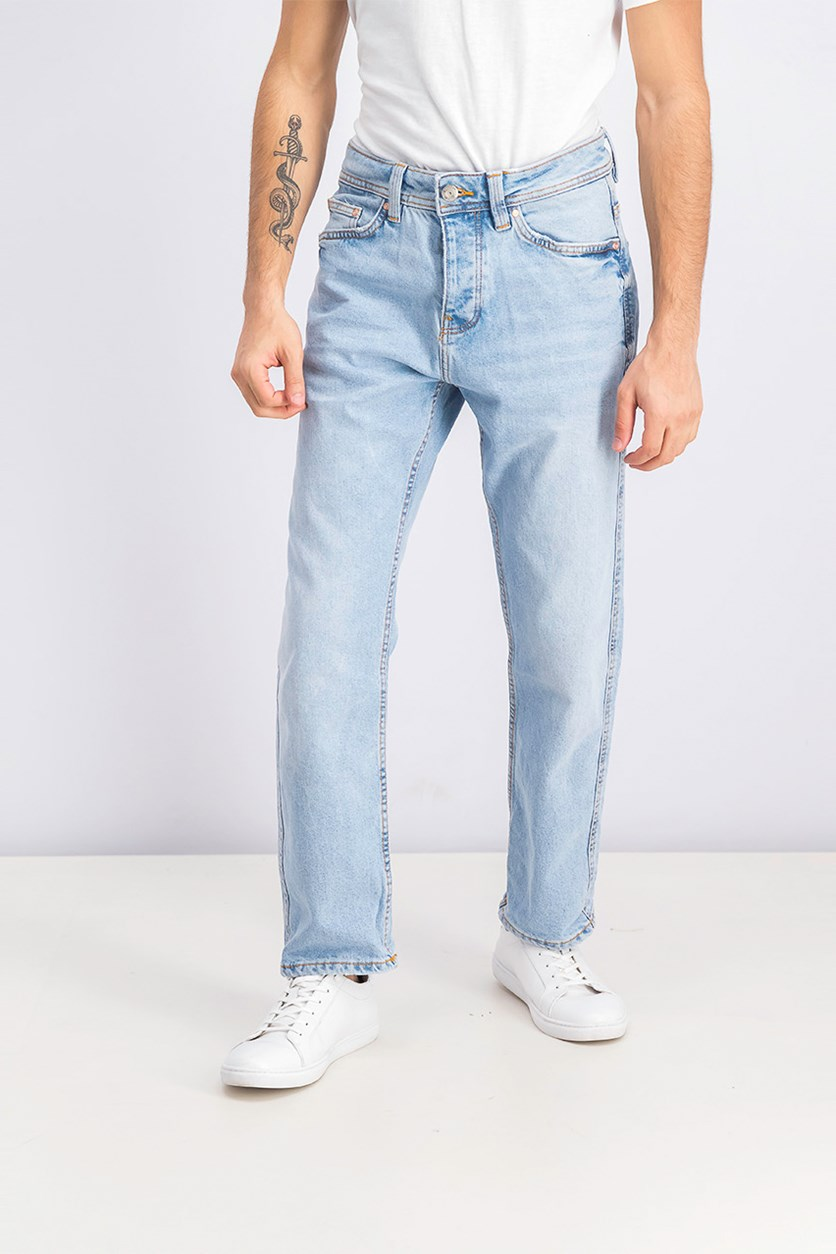 Men's Straight Fit Jeans, Wash Blue