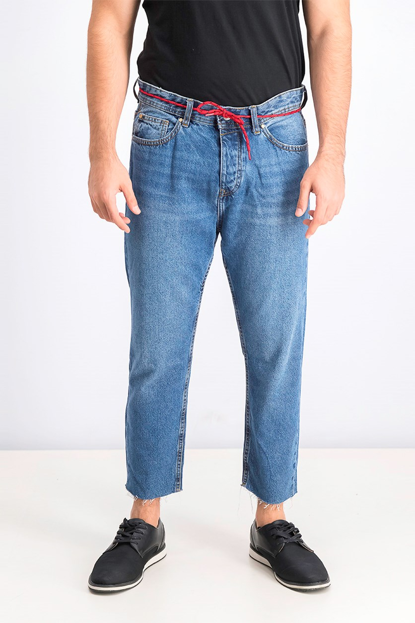 Men's Cropped Slim Fit Jeans With Cord, Blue