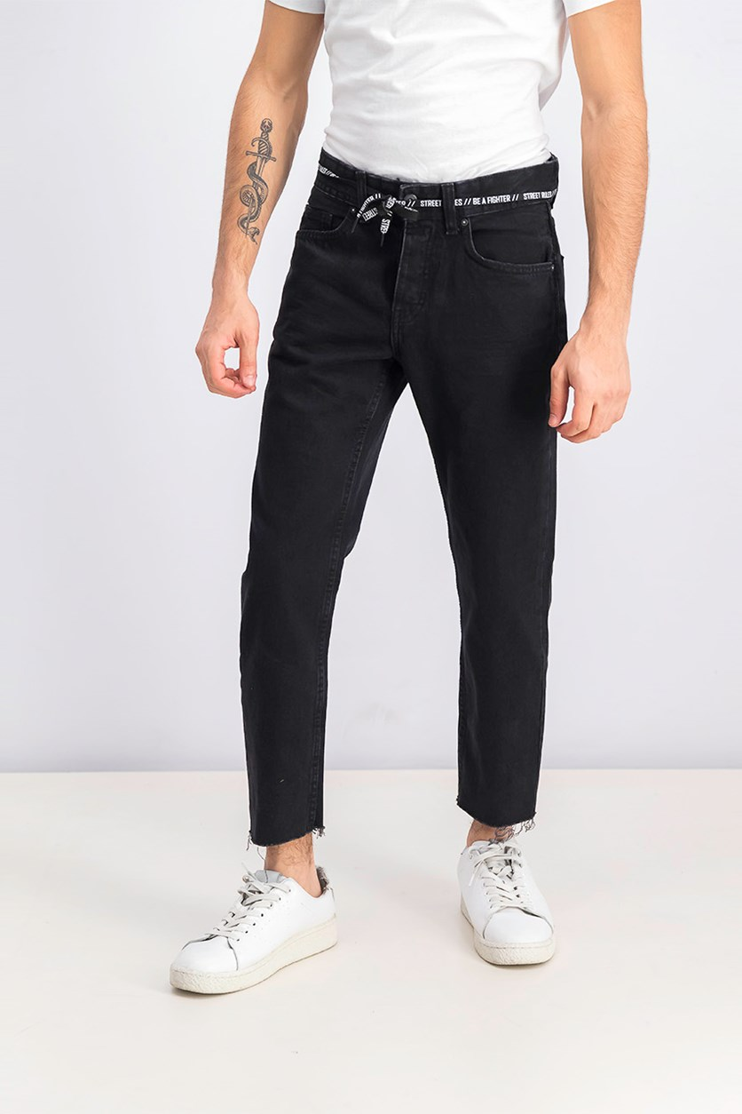 Men's Cropped Jeans, Black