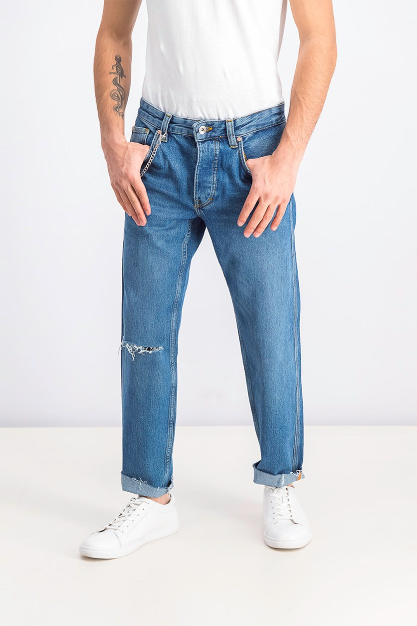 Mens Slim Fit Jeans With Chain, Blue Washed