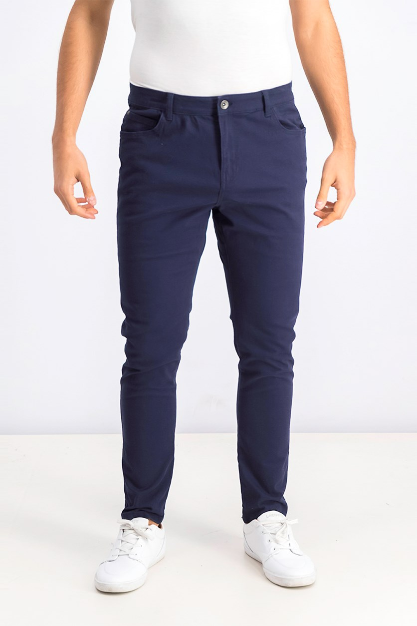 5 Pockets Skinny Trousers, Navy