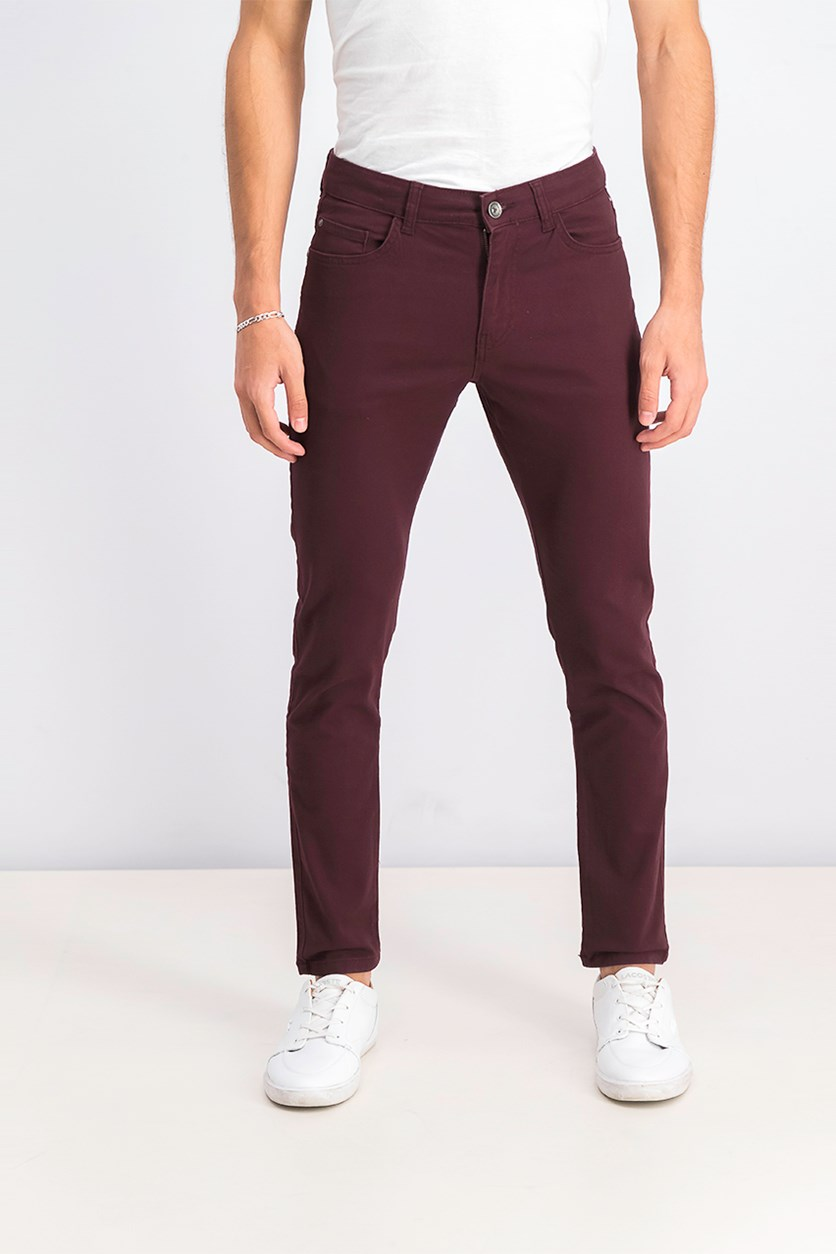 Men's Skinny Fit Pants, Maroon