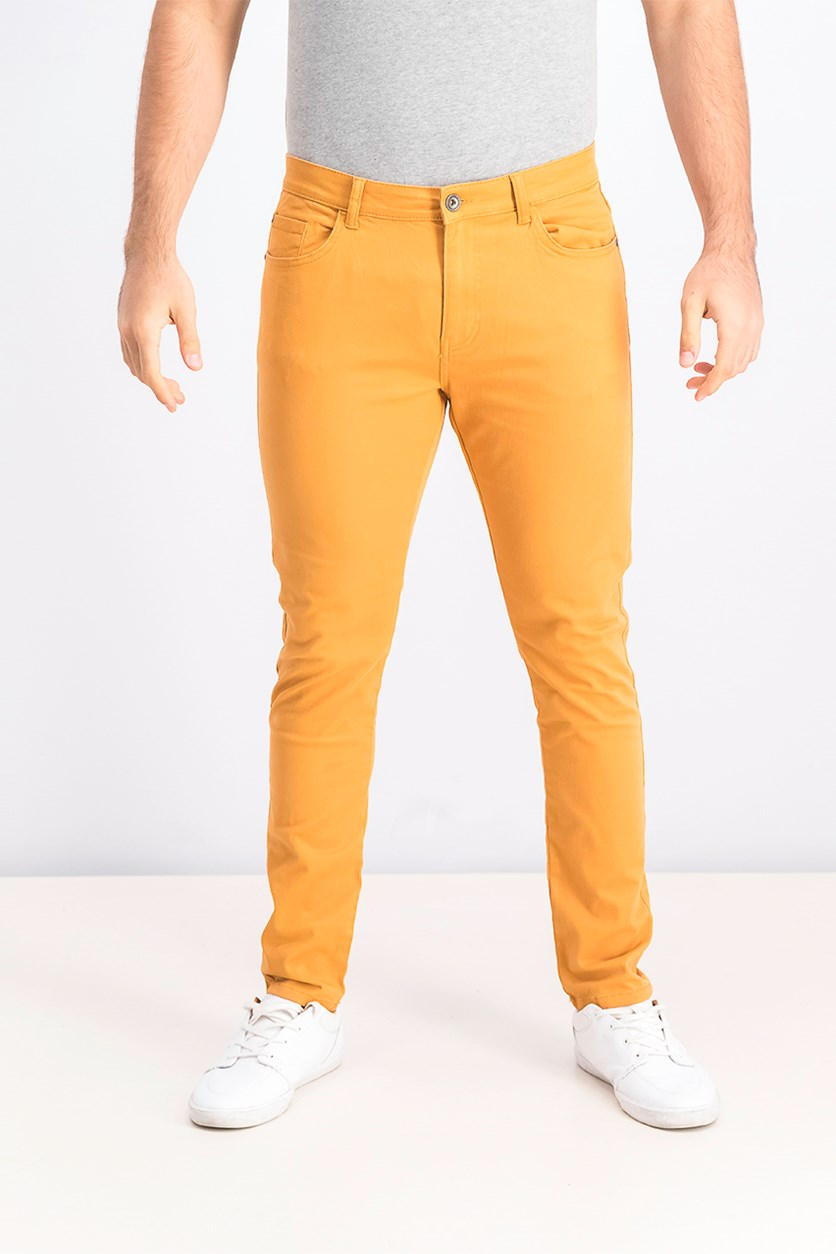 Men's Skinny Fit Jeans, Yellow Orange
