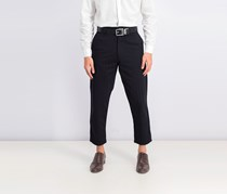 Men's Stripe Carrot Fit Trousers, Black