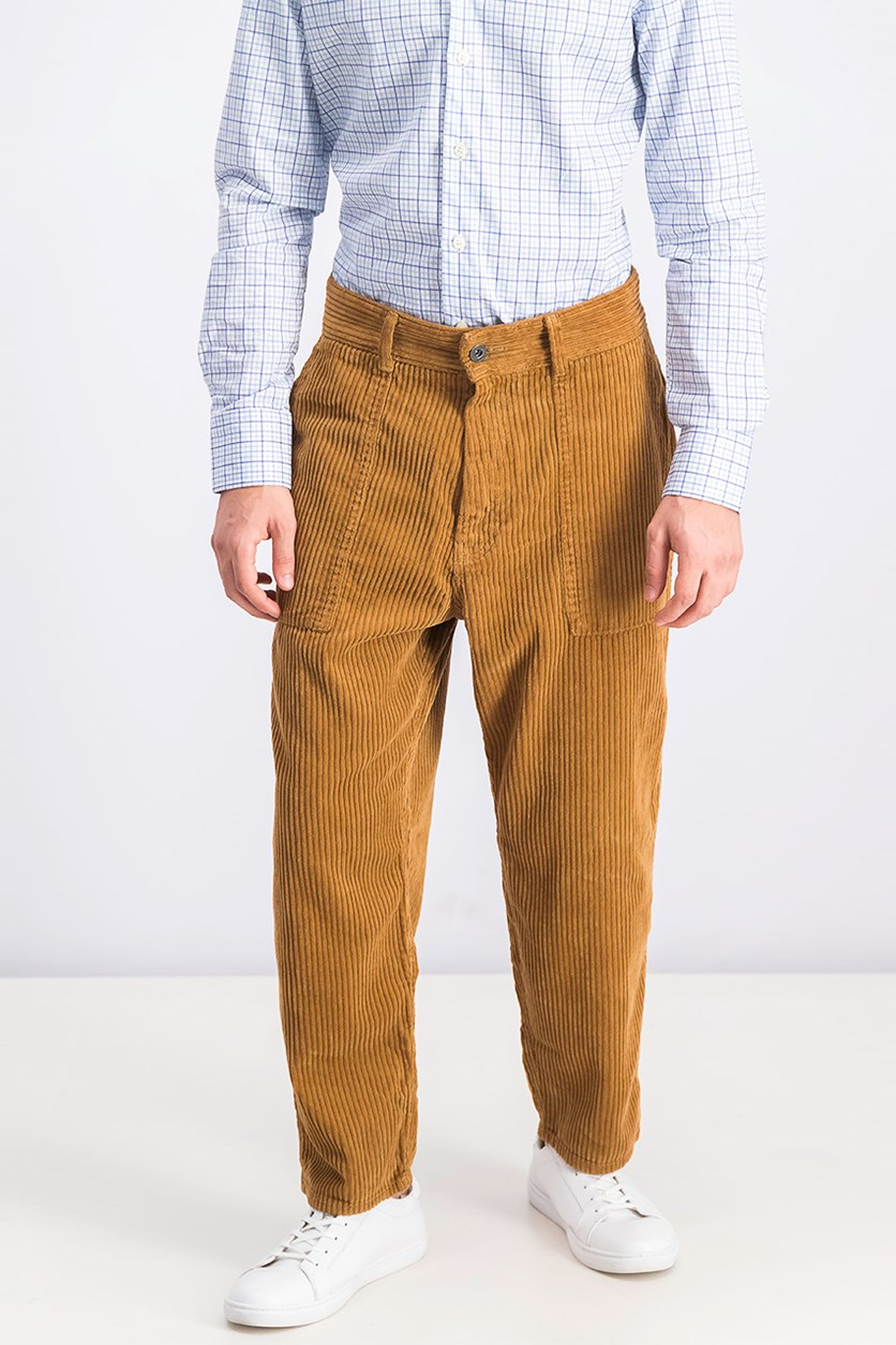 Men's Carrot Loose Fit Pants, Brown