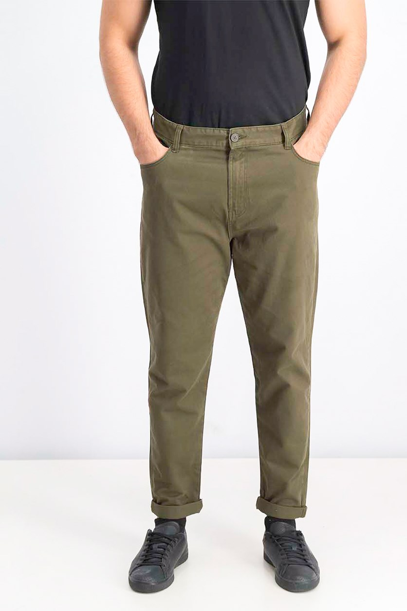Men's Carrot Fit Jeans, Olive
