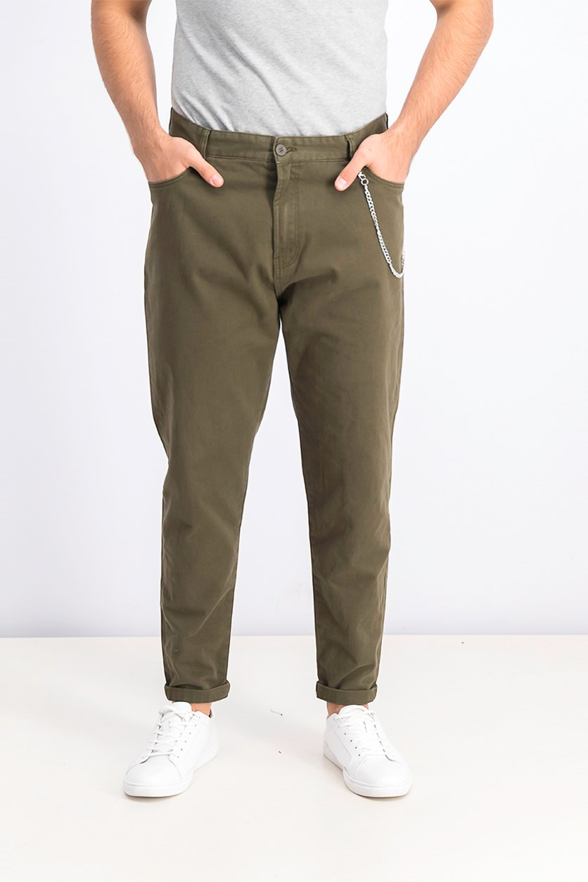 Men's Carrot Fit Pants With Chan, Olive Green