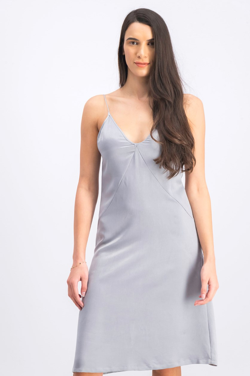 Women's V-Neck Dress, Silver