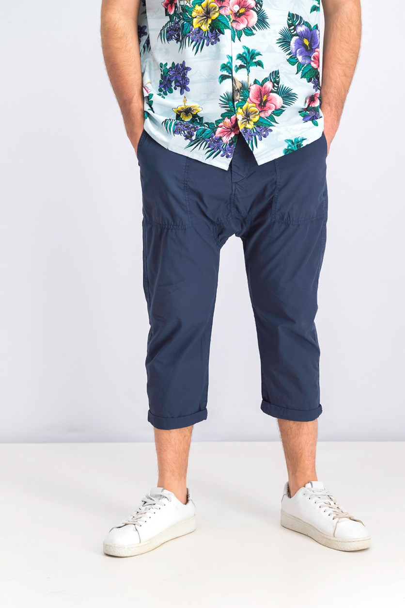Men's Cropped Fit Pants, Navy