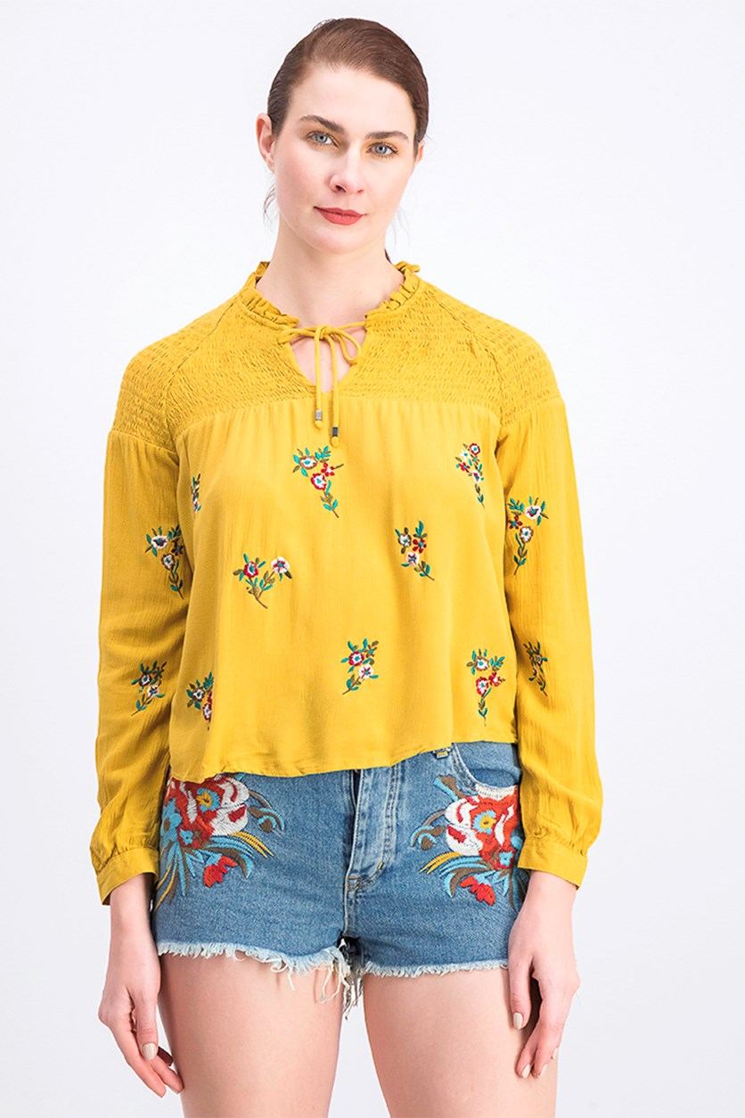 Women's Floral Embroidery Blouse, Mustard