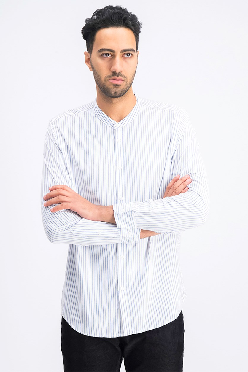 Men's Stand-Up Collar Shirt, White