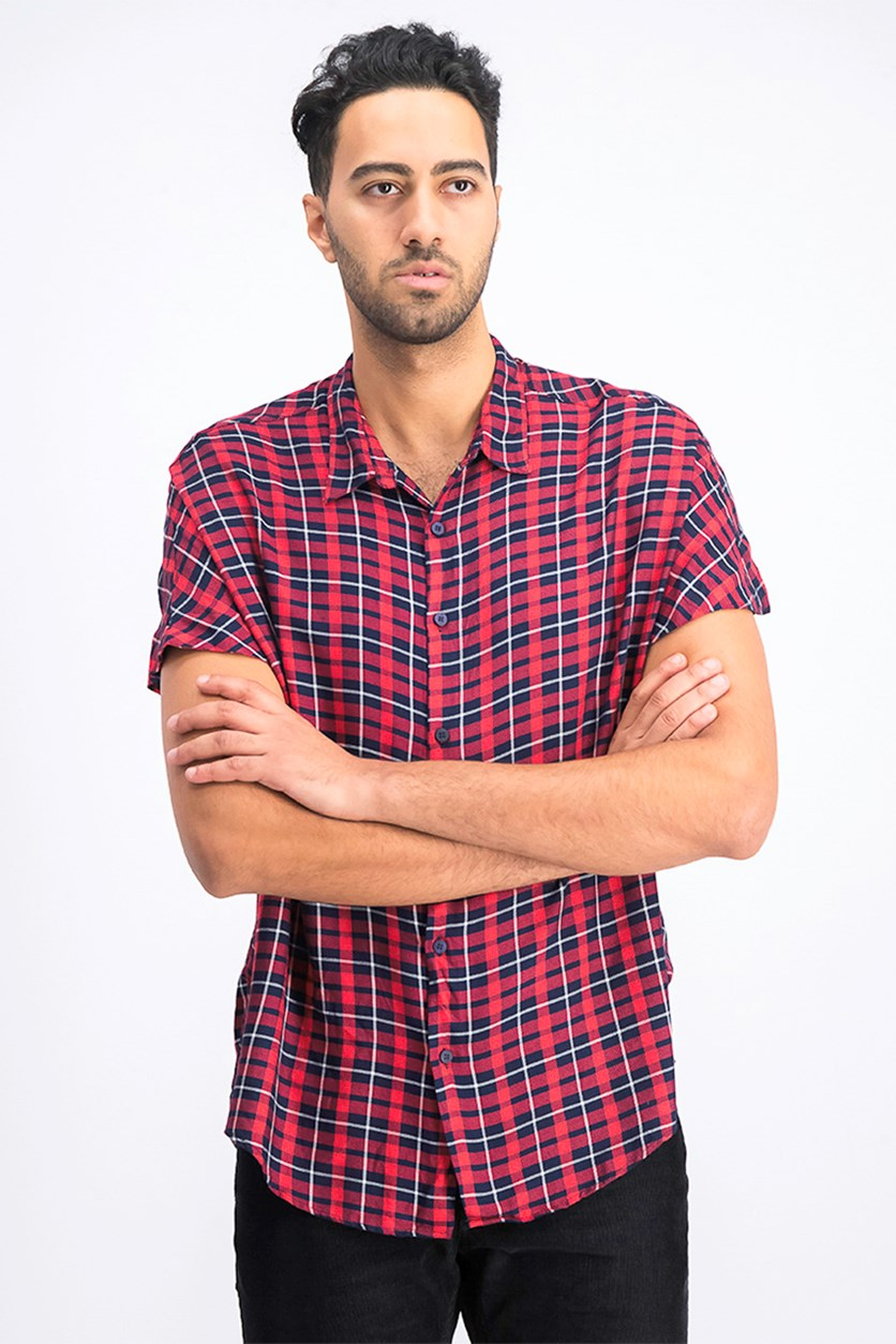 Men's Checked Shirt, Red Combo